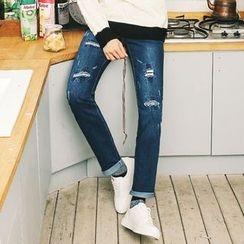 MEOSIDDA - Distressed Straight-Cut Jeans