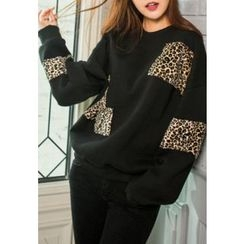 REDOPIN - Leopard-Detail Cotton Pullover