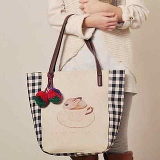 SUPER LOVER - Check-Panel Rabbit-Print Tote