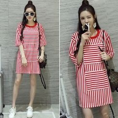 CHIH - Stripe Panel Elbow-Sleeve T-shirt Dress