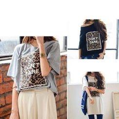 MATO - Leopard Print Oversized T-Shirt
