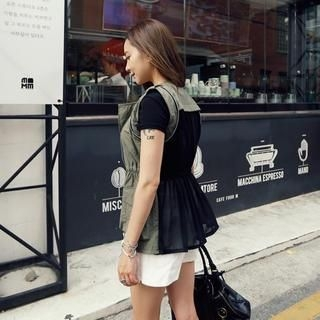 REDOPIN - Chiffon Panel Zip-Up Vest