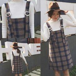 Zzang Girls - Plaid Pinafore Dress