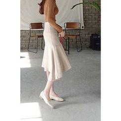 CHERRYKOKO - Asymmetric-Hem Midi Flare Skirt