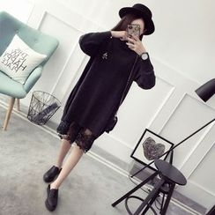 Qimi - 长袖小高领针织连衣裙