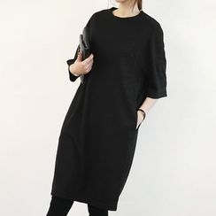 NANING9 - Elbow-Sleeve Shift Dress