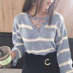 CosmoCorner - Front-Tie Striped Knit Top