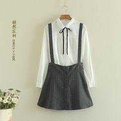 Storyland - Button-Front Striped Jumper Skirt