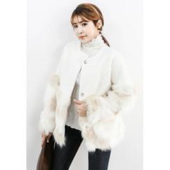 INSTYLEFIT - Snap-Button Faux-Fur Jacket