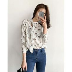 UPTOWNHOLIC - Tie-Front Floral Print Blouse