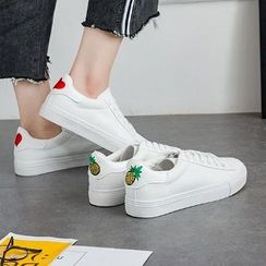 Solejoy - Lace-Up Embroidery Sneakers