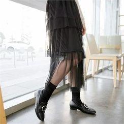 clicknme - Mesh-Overlay Long Tiered Skirt