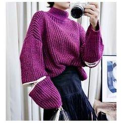 伊之戀 - 粗織樽領拉鏈袖毛衣