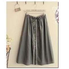 Fairyland - Drawstring Waist Lace Trim Maxi Skirt