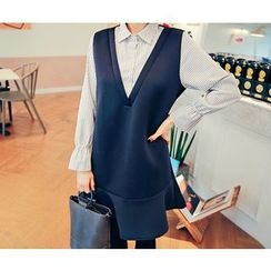 HOTPING - Inset Striped Shirt Ruffle-Hem Dress