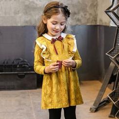 Cuckoo - 童装长袖蕾丝拼接A字连衣裙
