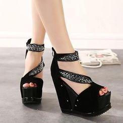 Mancienne - Embellished Wedge Sandals