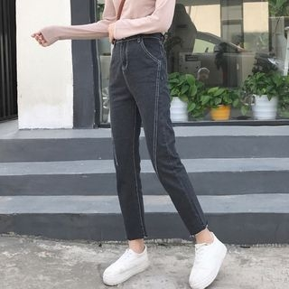 MePanda - Contrast Stitching Cropped Jeans