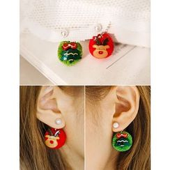 soo n soo - Christmas Tree and Rudolph Ball Earrings
