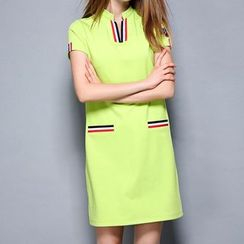 Merald - Stripe V-Neck Short-Sleeve Dress