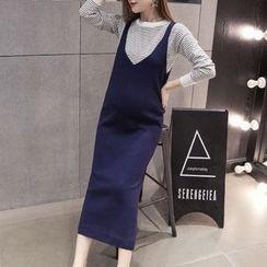 Dadada - 孕妇套装: 条纹毛衣 + 针织背心裙