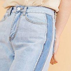 chuu - Two-Tone Washed Wide-Leg Jeans