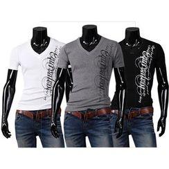 Bay Go Mall - Letter V-Neck Short-Sleeve T-Shirt