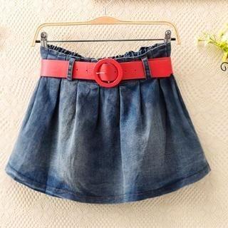 ColourShop - Elastic-Waist Pleated Washed Denim Skirt