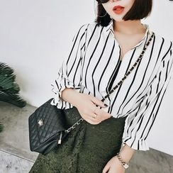 Jack Grace - Puff-Sleeve Striped Blouse