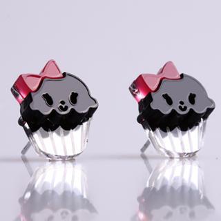 Sweet & Co. - Miss Cupcake Black Stud Silver Earrings