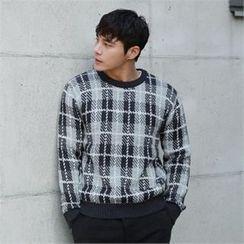 BYMONO - Crew-Neck Plaid Sweater