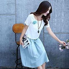 Romantica - Set: Short-Sleeve Corsage Top + Midi Skirt