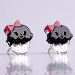 Sweet & Co. - Miss Cupcake Black Stud Silver Earrings