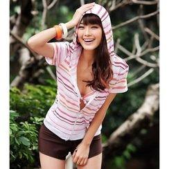 Rachel Swimwear - Set: Bikini + Hooded Striped Top + Shorts