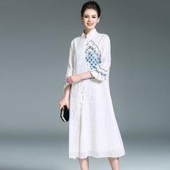 Elabo - Mandarin Collar Embroidered A-Line Dress
