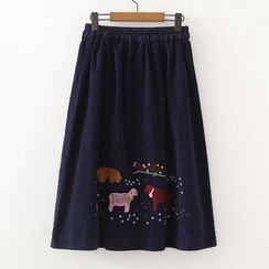 ninna nanna - Embroidered Corduroy A-line Skirt