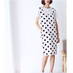 Sens Collection - Dotted Pinafore Midi Dress