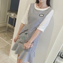 AMELA - Mock Two Piece Long Sleeve Striped Dress