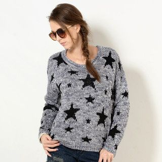 YesStyle Z - Star-Patterned Boucle Sweater