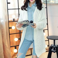 Romantica - Open-Knit Long Cardigan