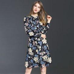 Elabo - Floral Print Long-Sleeve A-Line Dress