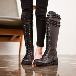 VIVIER - Lace-Up Belted High Boots