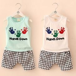 Seashells Kids - Kids Set: Printed Tank Top + Check Shorts