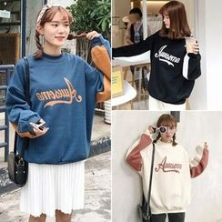 Anlay - Color-Block Print Mock-Neck Pullover