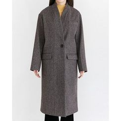 Someday, if - Collarless Single-Breasted Wool Blend Long Coat