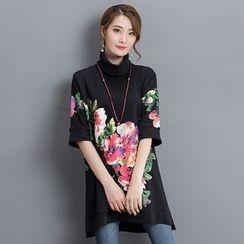 Salisha - Floral Print Turtleneck Elbow-Sleeve Pullover