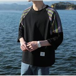 Bestrooy - 3/4-Sleeve Patterned T-Shirt