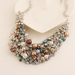 Love Generation - Rhinestone Beaded Statement Necklace