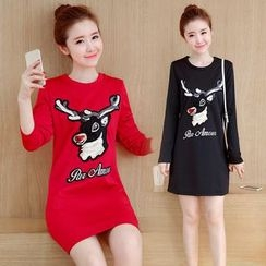 Emeline - Long-Sleeve Applique T-Shirt Dress