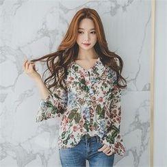 ERANZI - Bell-Sleeve Floral-Pattern Chiffon Blouse